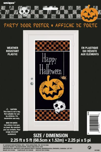 Chequered Halloween Door Poster